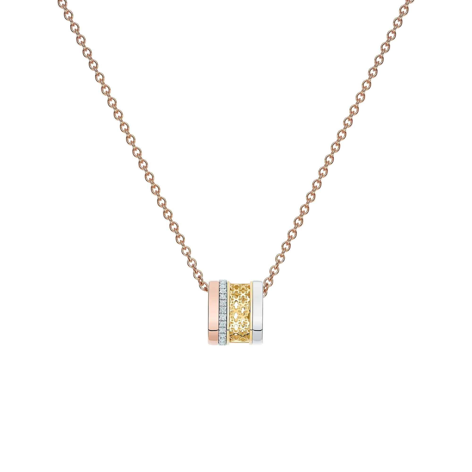Birks 18K Rose Gold .14cts  Diamonds Gold Necklace with Stones 450008640409