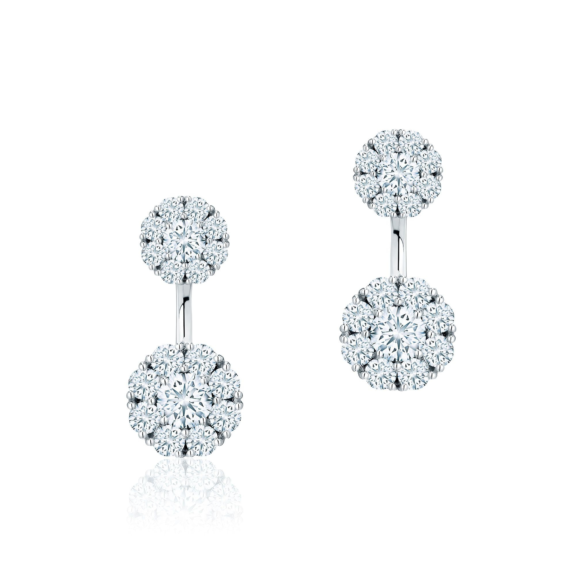 Birks 18K White Gold 1.39cts  Diamond Gold Earrings with Stones 450014408161