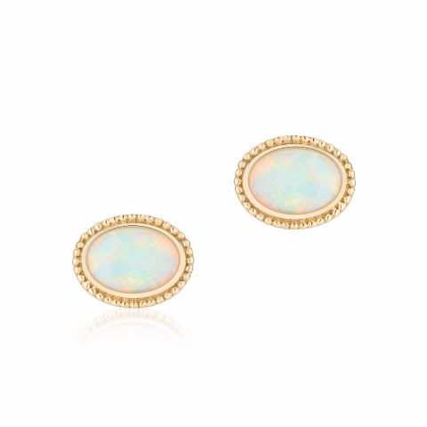 Birks 18K Yellow Gold   Opal Gold Earrings with Stones 450011811629