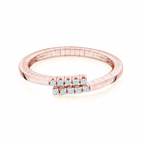 Birks 18k Rose Gold .09cts  Diamonds Gold Ring with Stones 450011403824-7