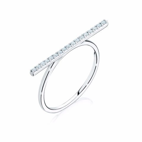 Birks 18k White Gold .15cts  Diamonds Gold Ring with Stones 450011733006-7