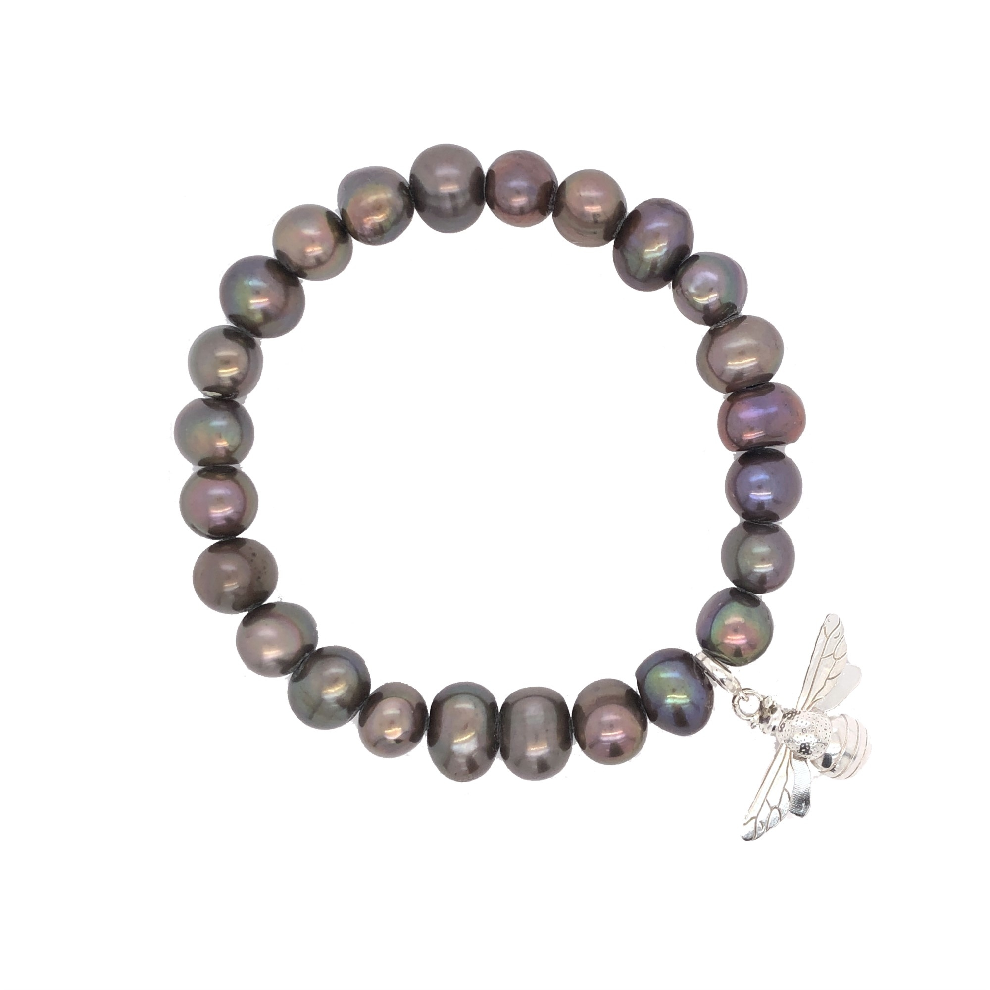 Carol Ferguson Jewelry  Sterling Silver   Pearl Silver Bracelet with Stones BSBB-SS-DYEDPEARL