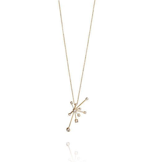Efva Attling 18K Yellow Gold   Diamonds Gold Necklace with Stones 11--101-01051/0000