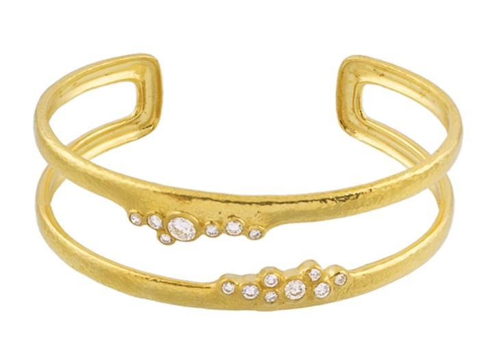 Gurhan 22K Yellow Gold .78cts  Diamond Gold Bangle with Stones CB-SCTDI-DB-HO