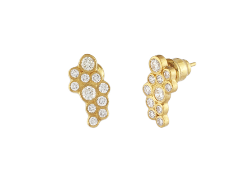 Gurhan 22K Yellow Gold 1.03cts  Diamonds Gold Earrings with Stones E-CRW-L-11DI-P