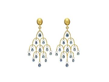 Gurhan 22K Yellow Gold 8.25cts  Sapphire Gold Earrings with Stones E-CHDL-FSB-BL-S-97JT