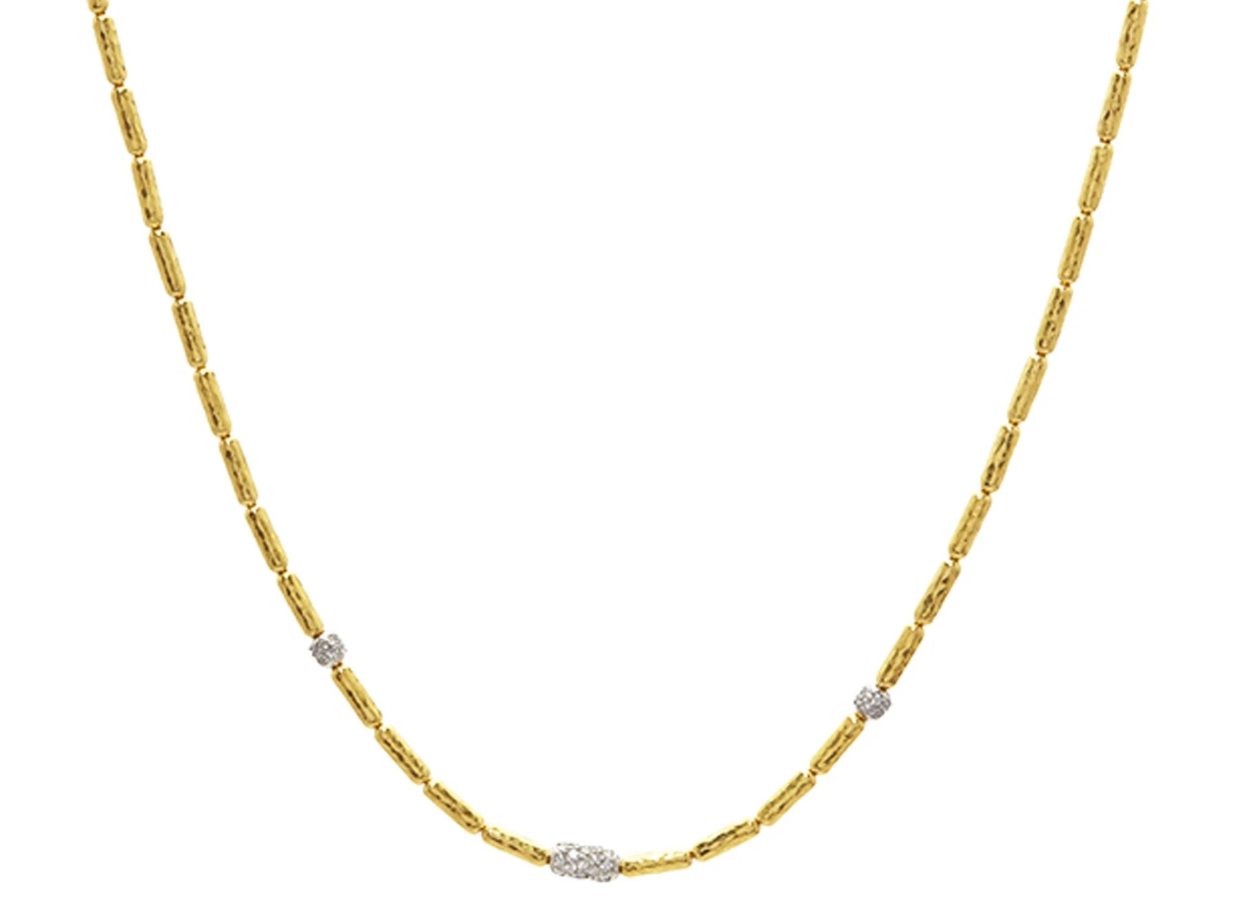 Gurhan 24K Yellow Gold .51cts  Diamonds Gold Necklace with Stones NVN-VPDI-3DIMX-18