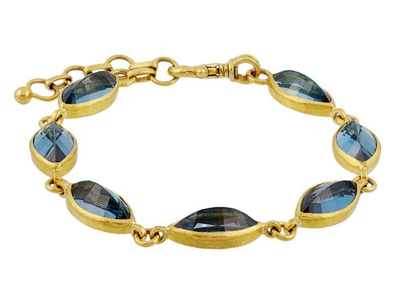 Gurhan 24K Yellow Gold 33.30cts Blue Topaz Gold Bangle with Stones B-U22837-BT