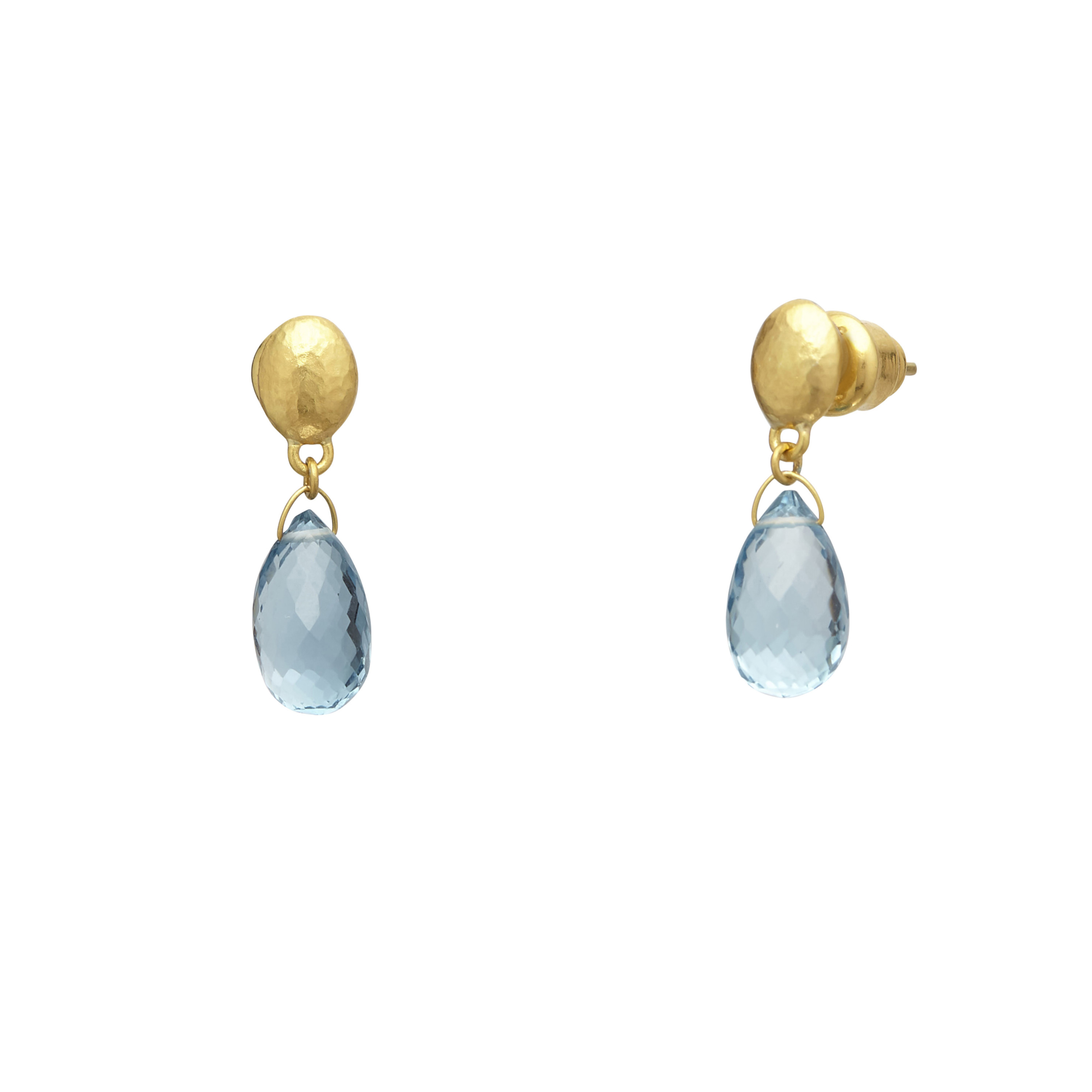 Gurhan 24K Yellow Gold 8.77cts Blue Topaz Gold Earrings with Stones E-U25021-BT