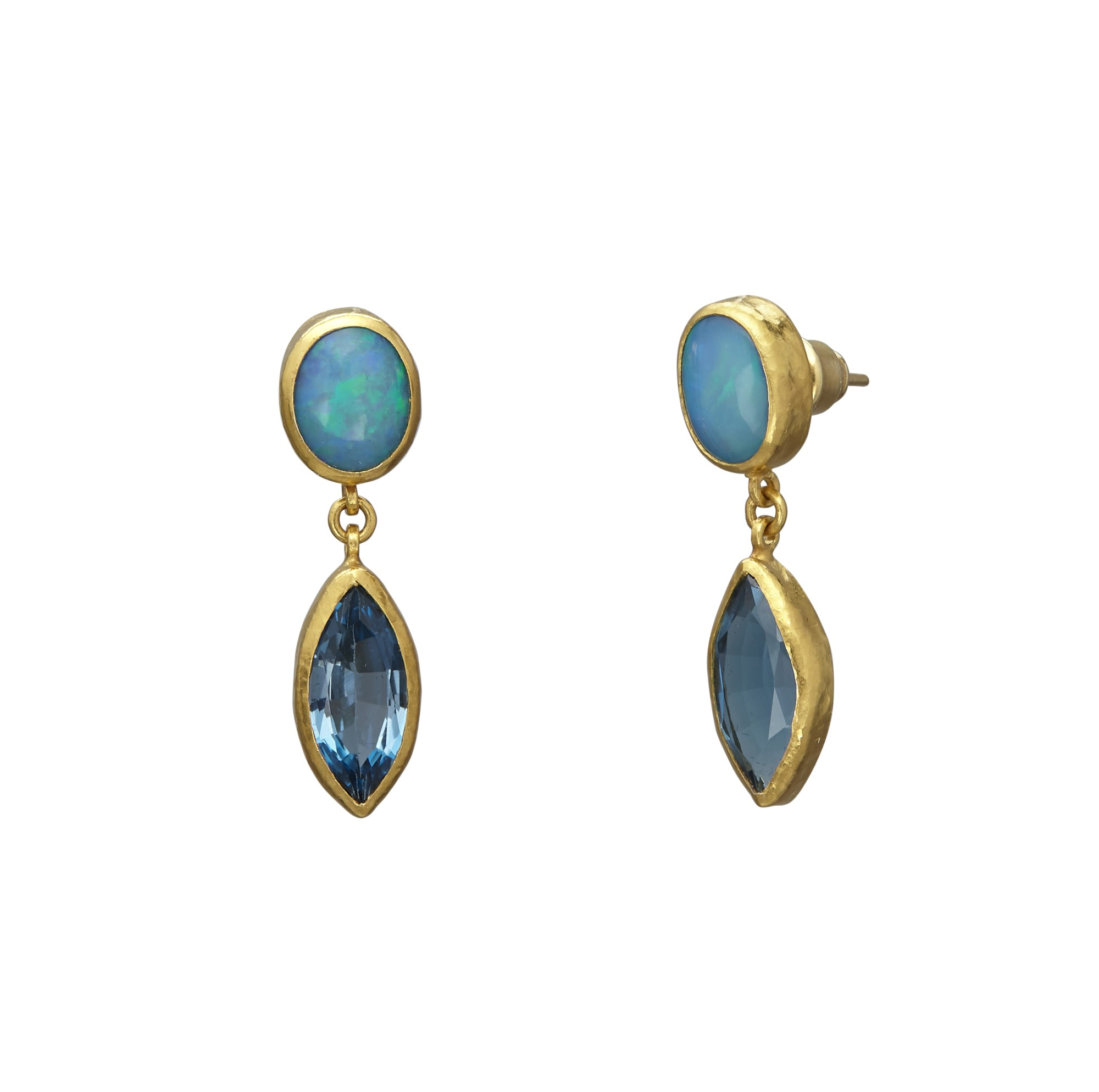 Gurhan 24K Yellow Gold  Blue Topaz Gold Earrings with Stones E-U21917-MS