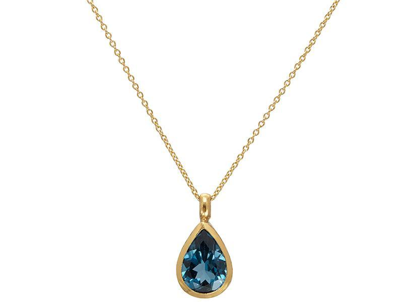 Gurhan 24K Yellow Gold  Blue Topaz Gold Necklace with Stones N-U23585-BT