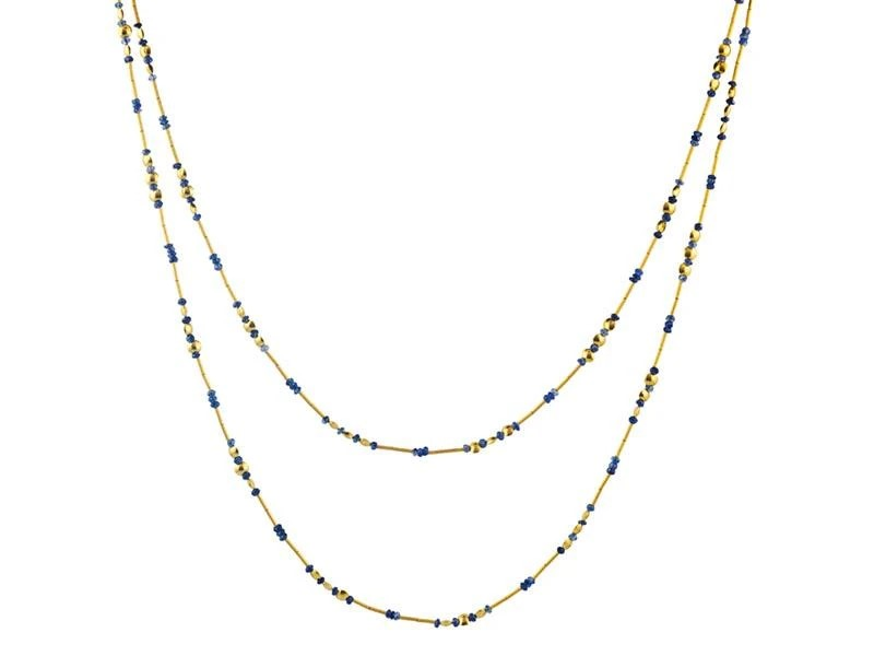 Gurhan 24K Yellow Gold   Sapphires Gold Necklace with Stones DZN-LTM-SA-SP-48