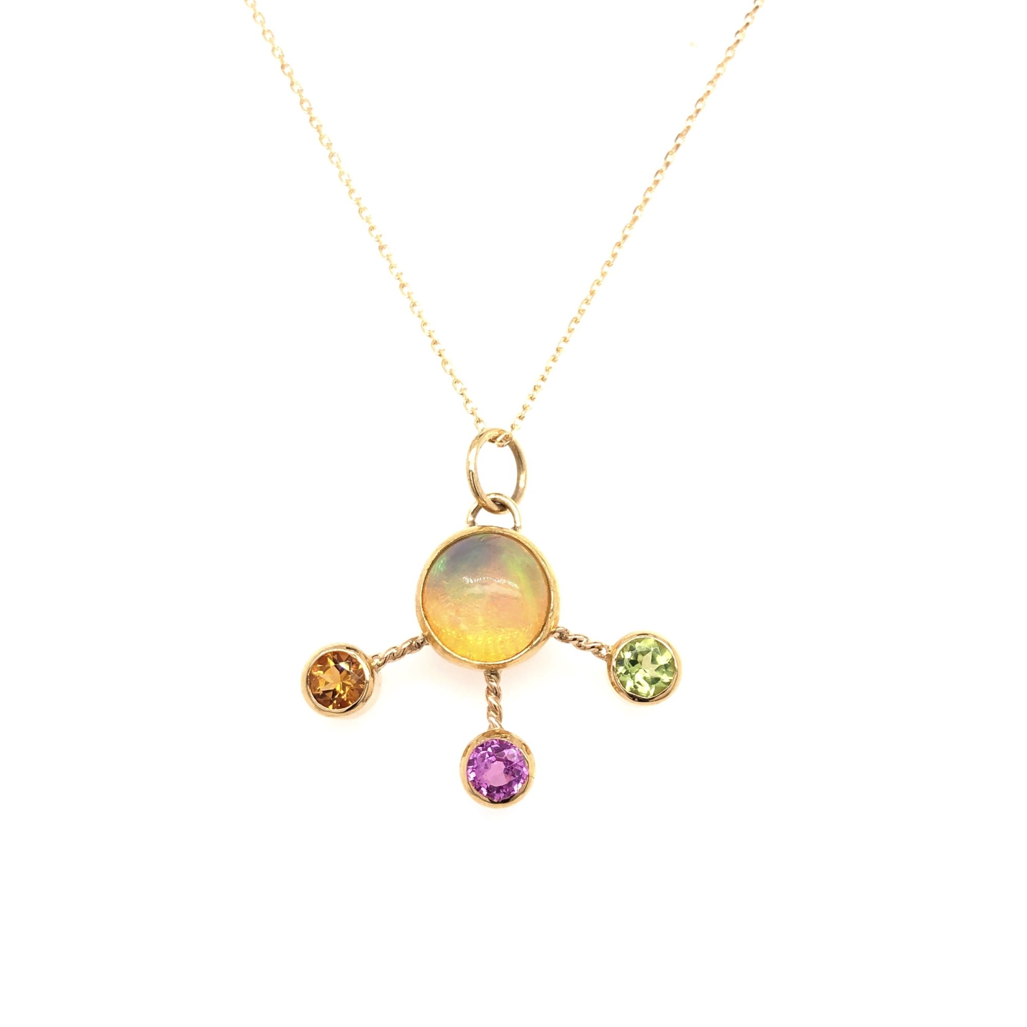 Jewel Lab 18K Yellow Gold   Opal Gold Necklace with Stones IMPER CHEM PEND #2
