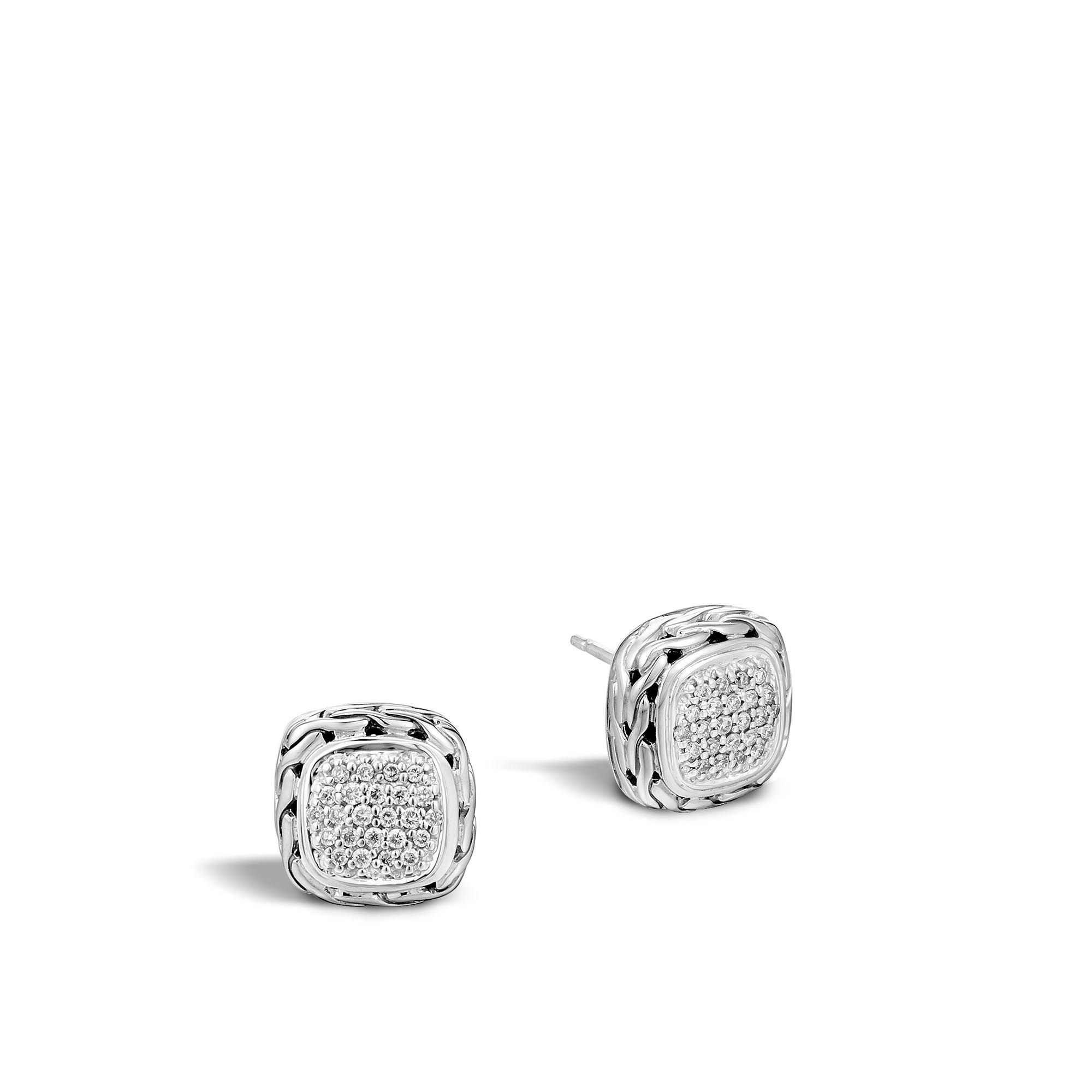 John Hardy  Sterling Silver .34cts  Diamonds Silver Earrings with Stones EBP92372DI