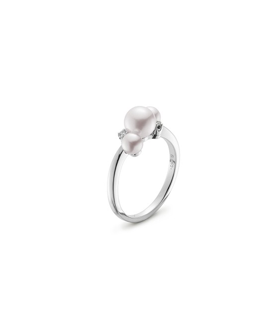 Mikimoto 18K White Gold .02cts  Diamonds Pearl Rings MRQ10031ADXW