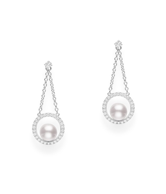 Mikimoto 18K White Gold .34cts  Diamonds Pearl Earrings MEA10315ADXW