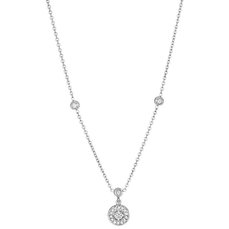 Penny Preville 18K White Gold .47cts  Diamonds Gold Necklace with Stones N1006W