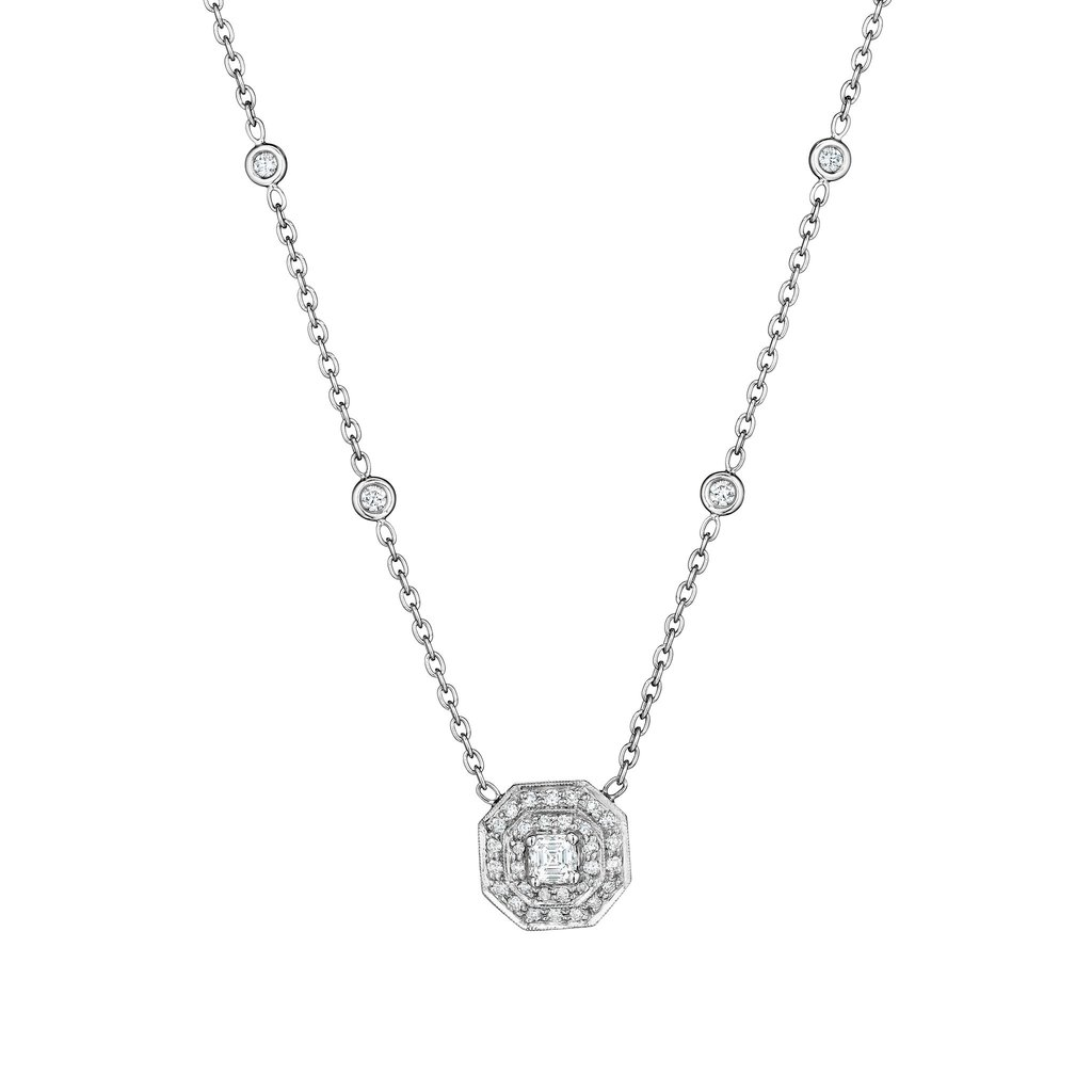 Penny Preville 18K White Gold .62cts  Diamonds Gold Necklace with Stones N2056W