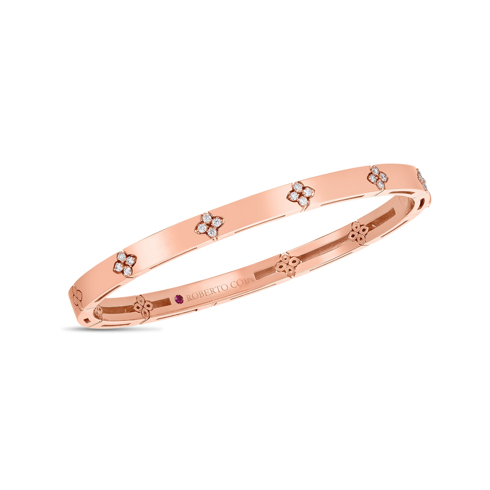 Roberto Coin 18K Rose Gold .15cts  Diamonds Gold Bangle with Stones 8882970AXBAX