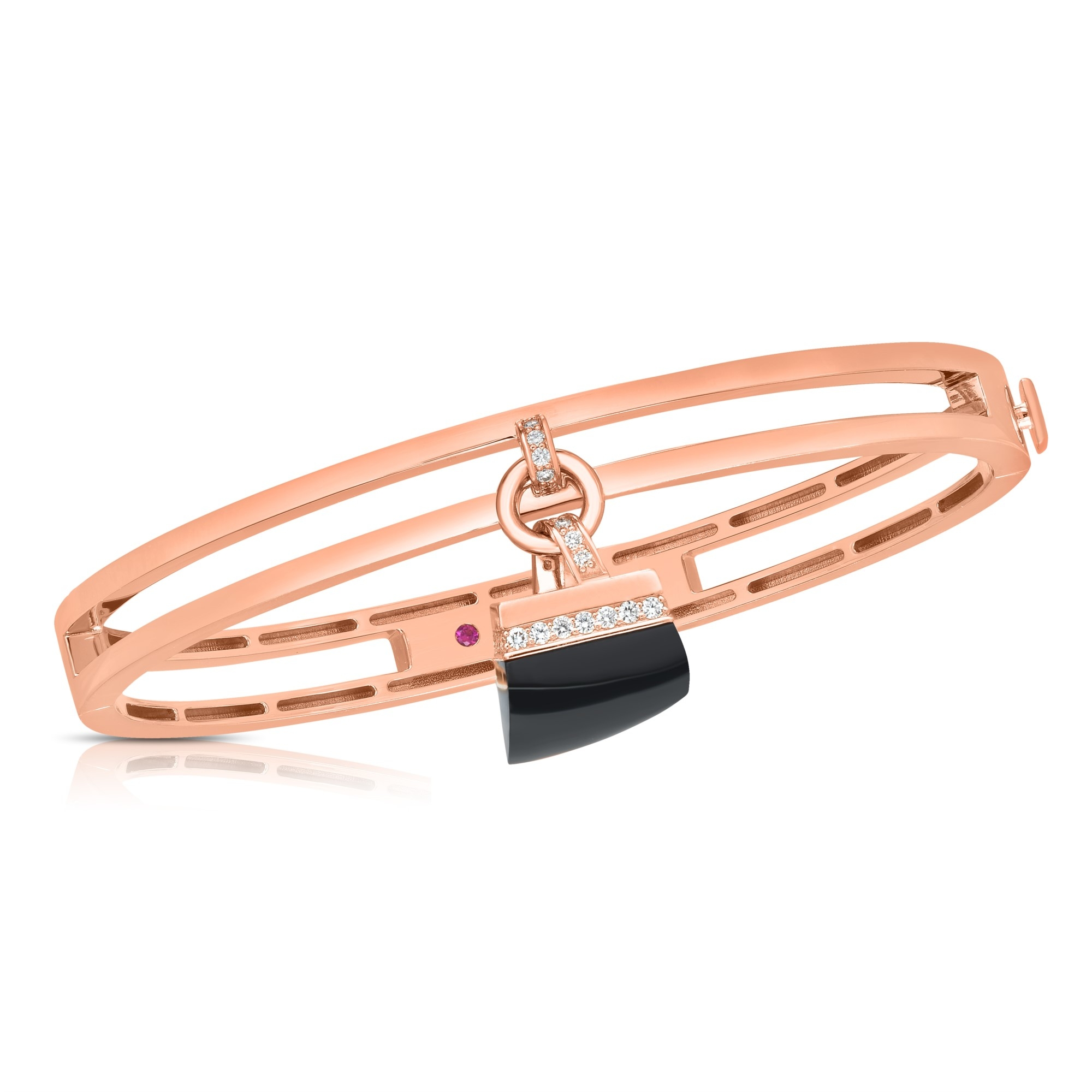 Roberto Coin 18K Rose Gold .30cts  Diamond Gold Bangle with Stones 8882813AXBAX