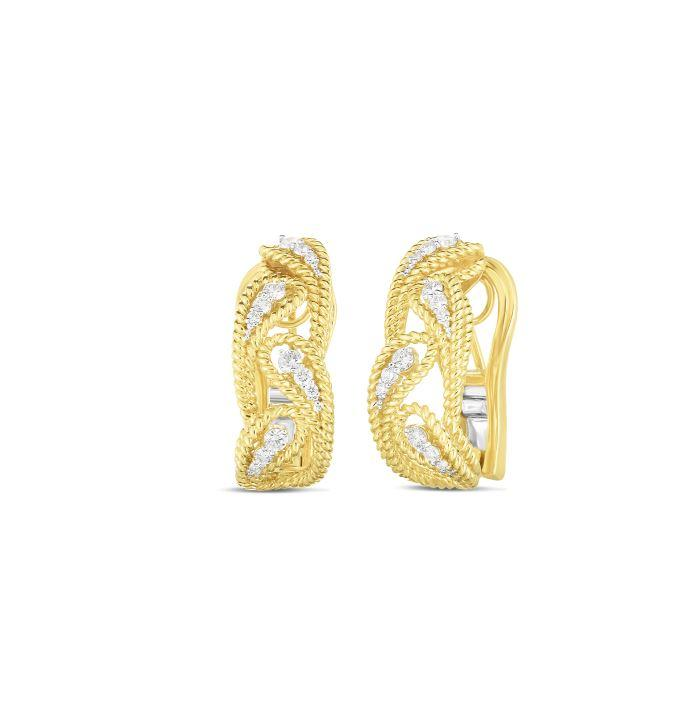 Roberto Coin 18K Yellow Gold .39cts  Diamonds Gold Earrings with Stones 7772781AJERX