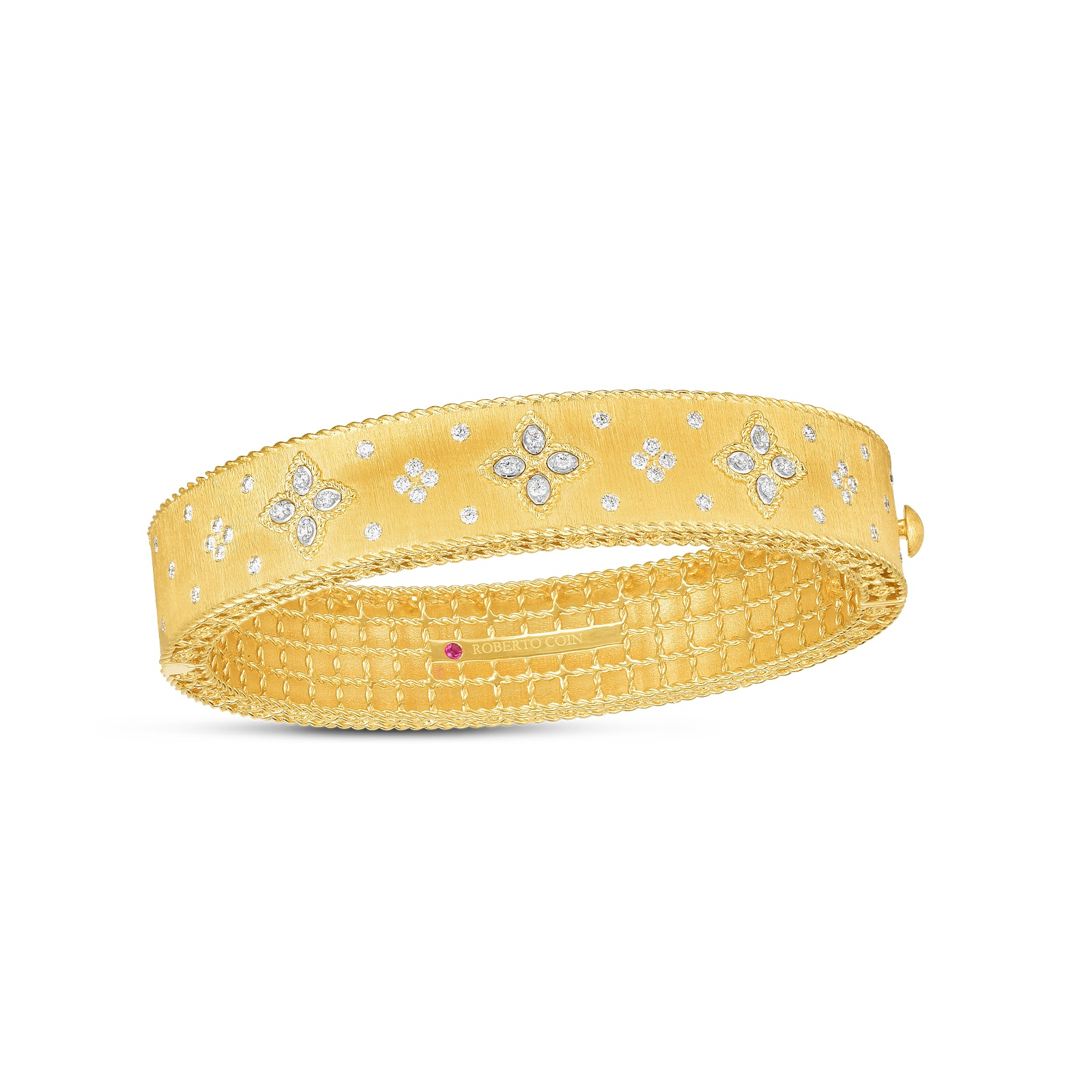 Roberto Coin 18K Yellow Gold .67cts  Diamonds Gold Bangle with Stones 7772804AJBAX