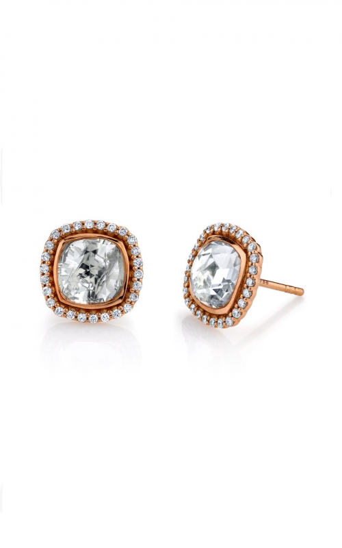Sloane Street 18K Rose Gold .26cts  Diamond Gold Earrings with Stones E009-WT-WD-R