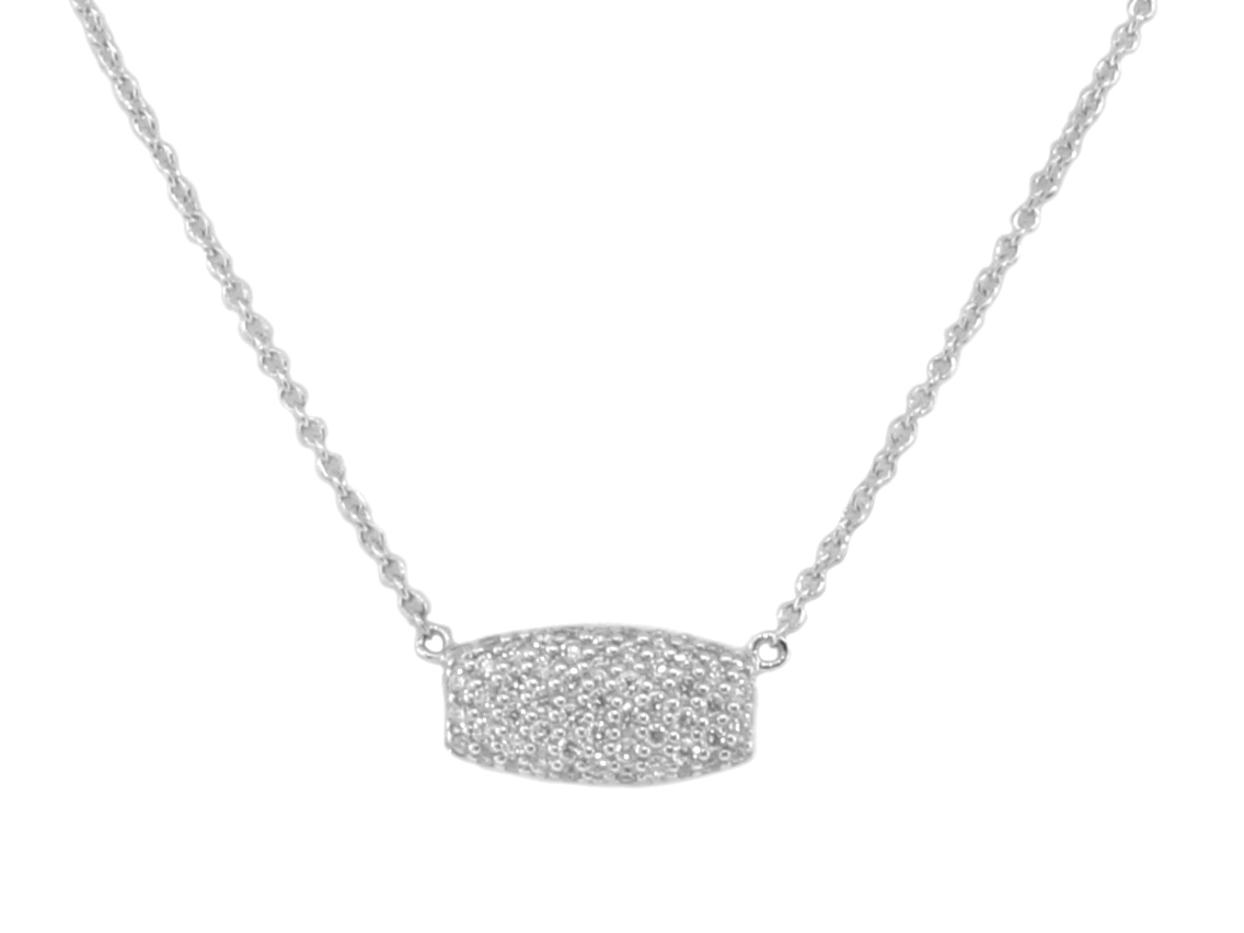 Sloane Street 18K White Gold .26cts  Diamonds Gold Necklace with Stones P005-WD-W