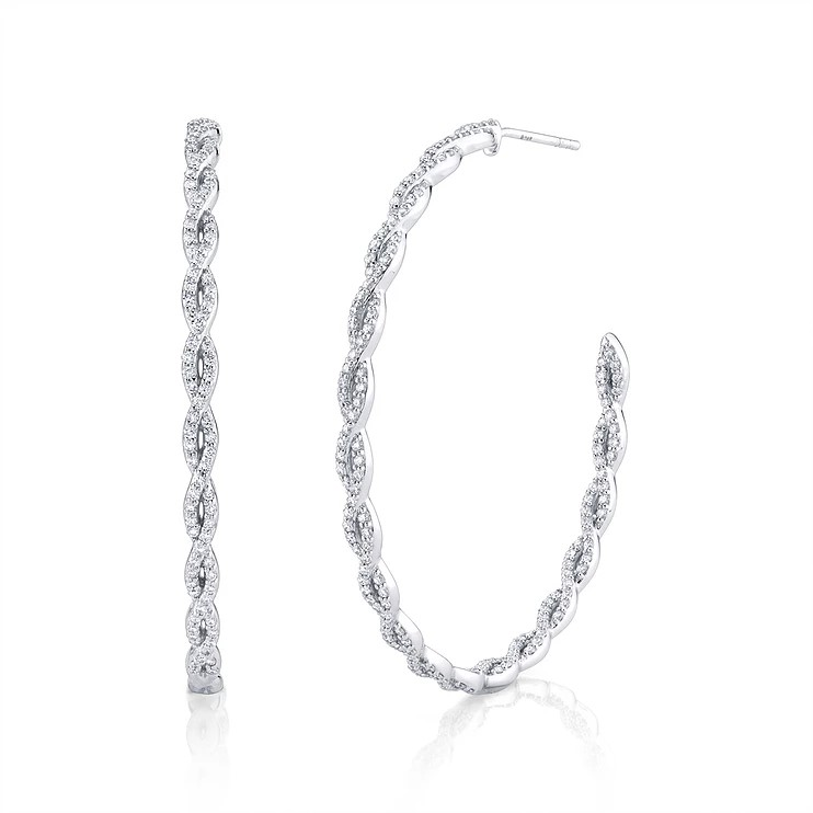 Sloane Street 18K White Gold 1.63cts  Diamonds Gold Earrings with Stones H003E-WD-W