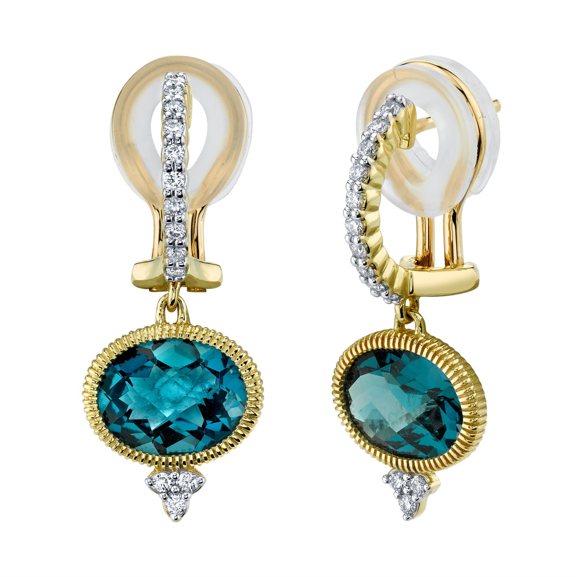 Sloane Street 18K Yellow Gold .26cts  Diamonds Gold Earrings with Stones E003C-LB-WDCB-Y
