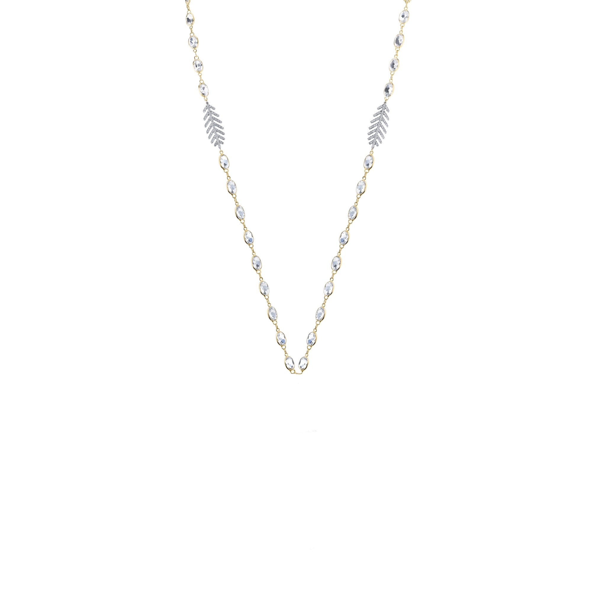 Sloane Street 18K Yellow Gold .46cts  Diamonds Gold Necklace with Stones CH018T-WT-WD-Y