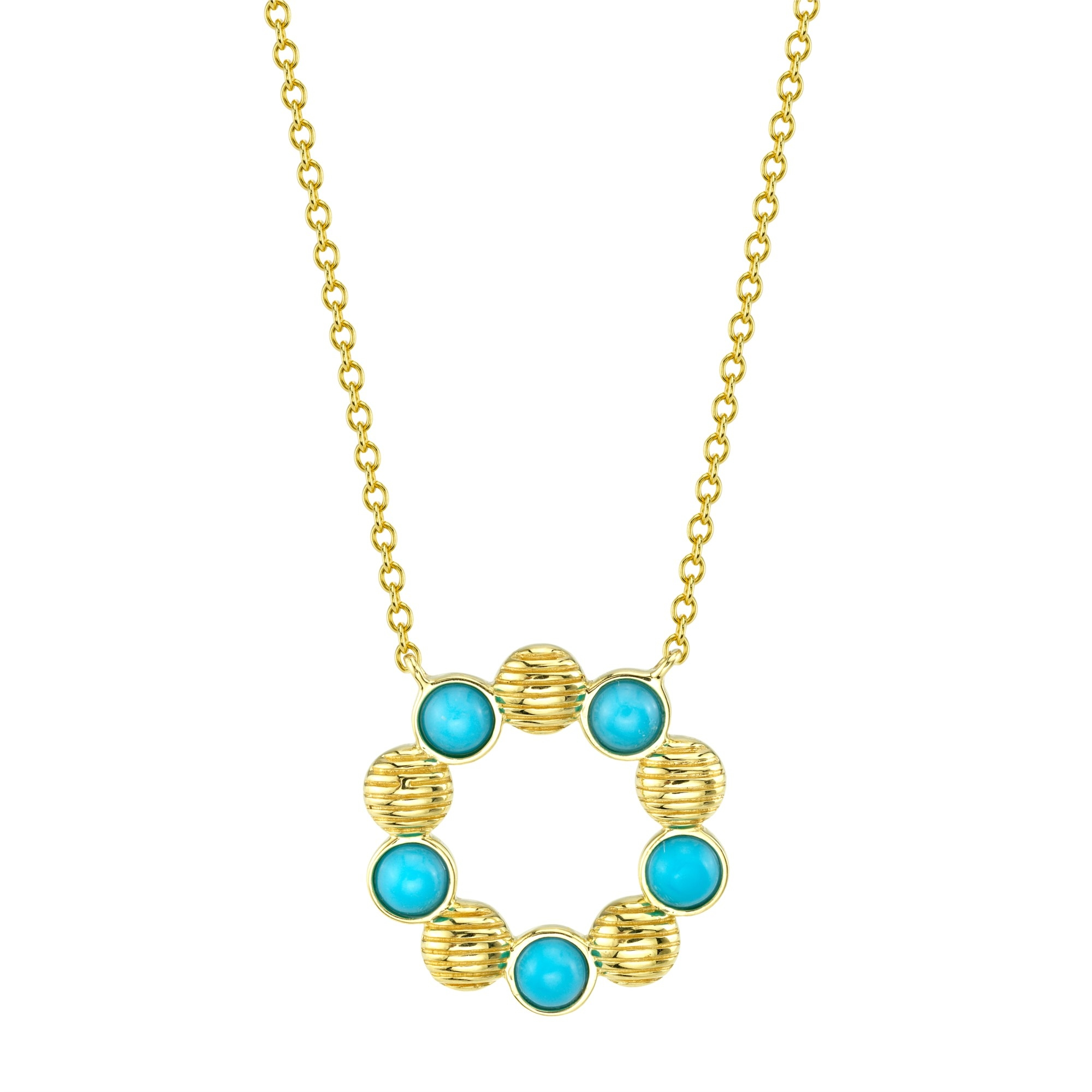 Sloane Street 18K Yellow Gold .49cts  Turquoise Gold Necklace with Stones P002F-TQ-Y