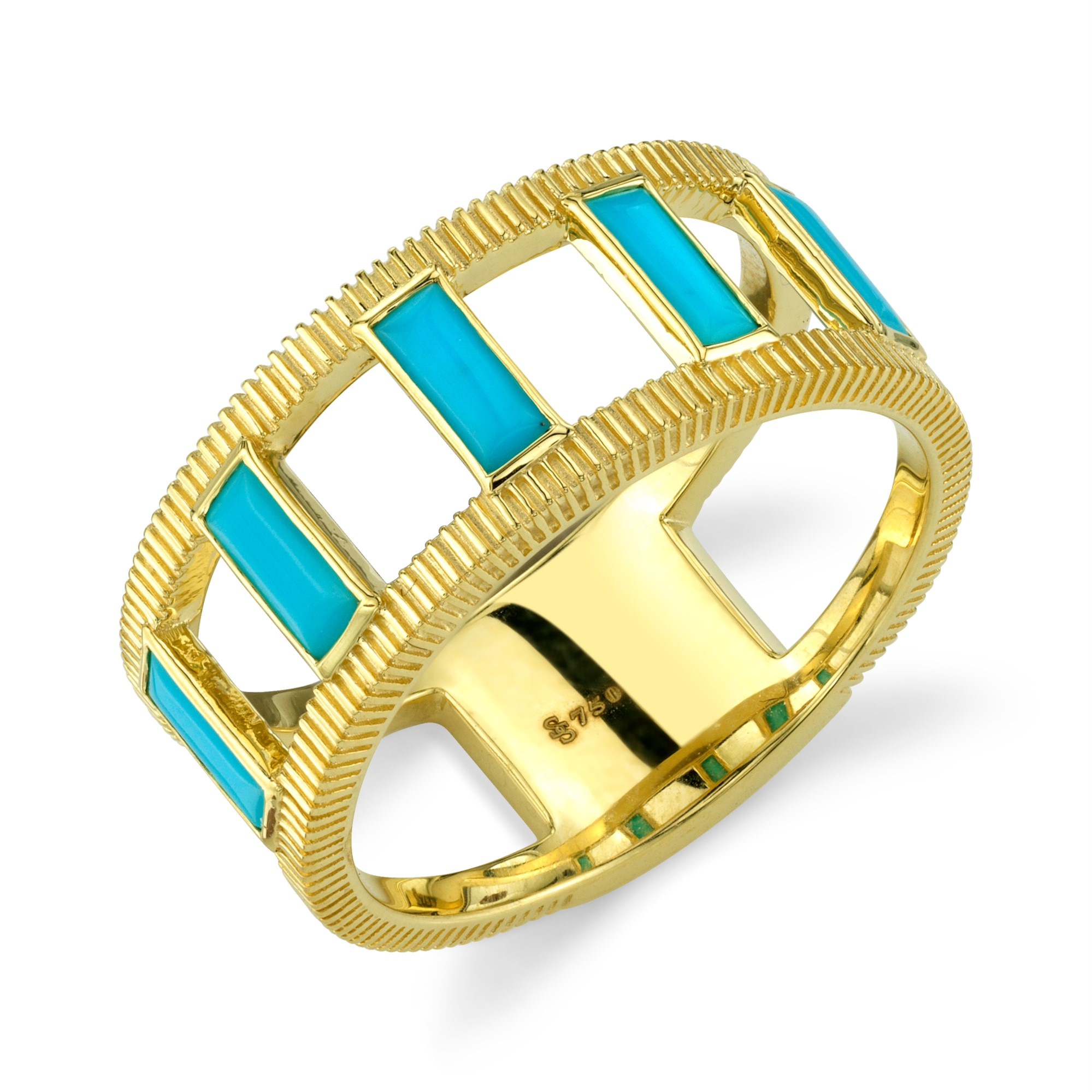 Sloane Street 18K Yellow Gold .50cts  Turquoise Gold Ring with Stones R015F-TQ-Y
