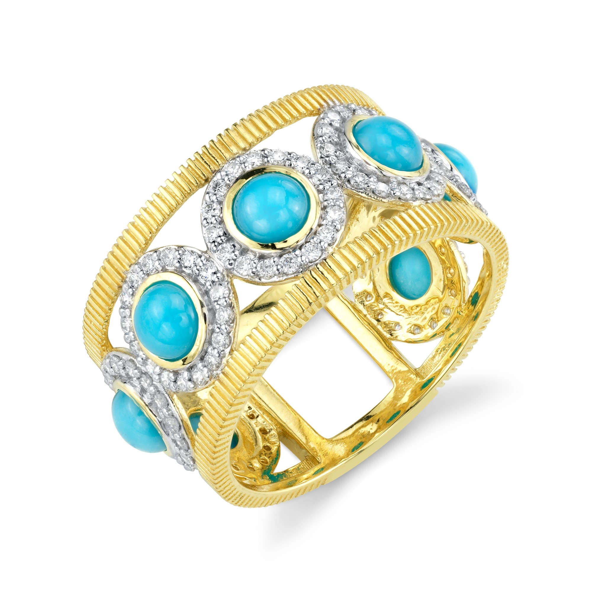 Sloane Street 18K Yellow Gold .56cts  Diamonds Gold Ring with Stones R018F-TQ-WDCB-Y