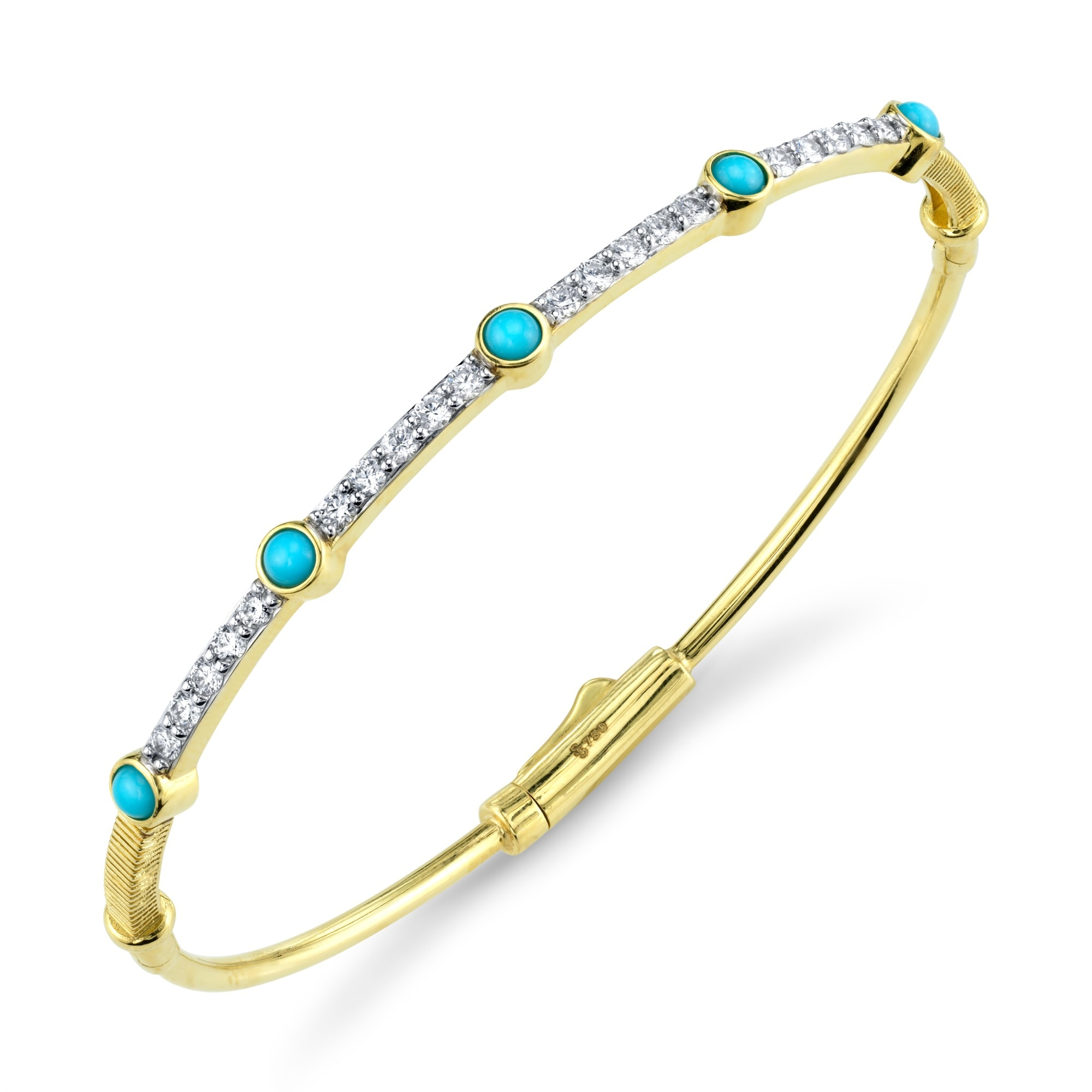 Sloane Street 18K Yellow Gold .61cts  Diamonds Gold Bangle with Stones B006F-TQ-WDCB-Y
