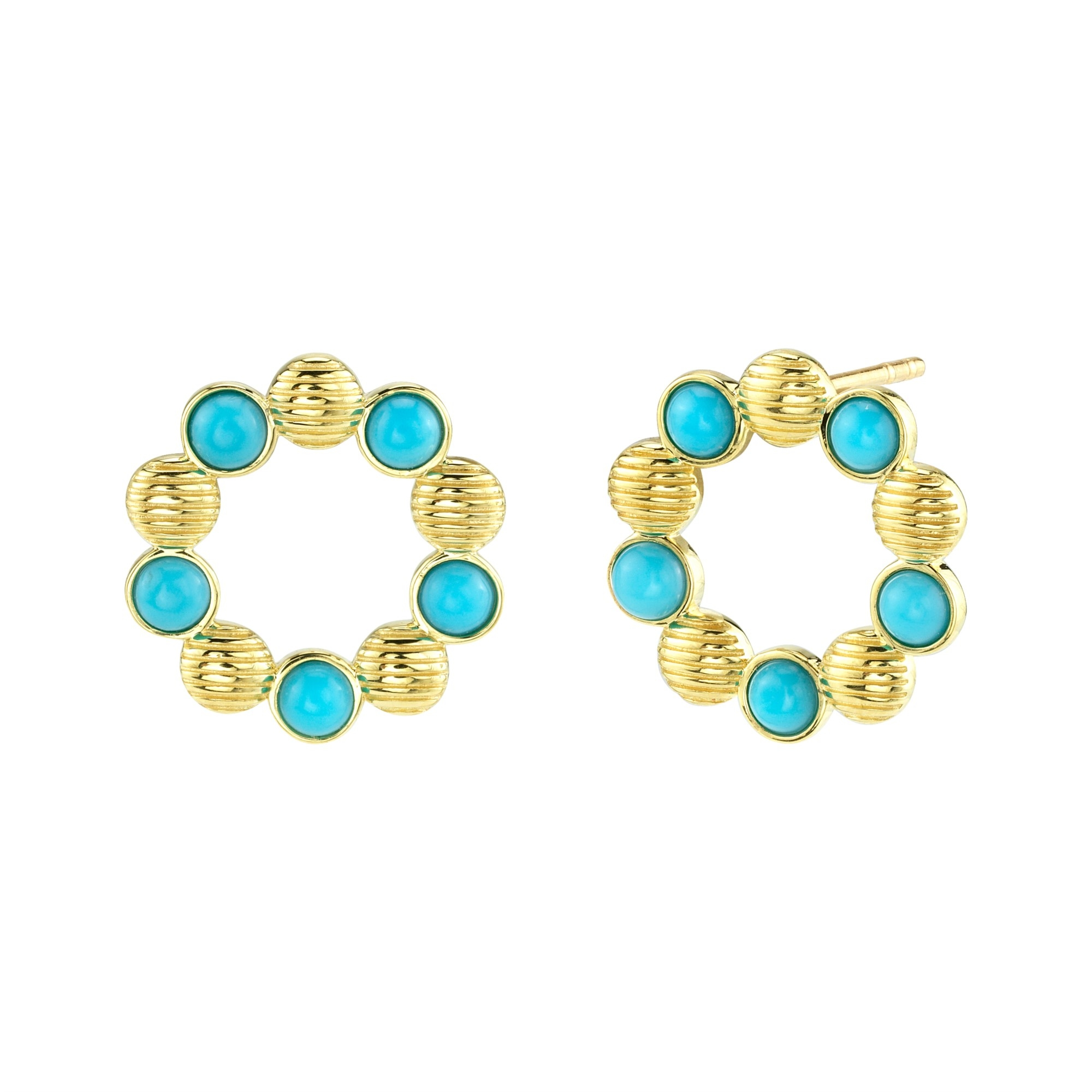 Sloane Street 18K Yellow Gold 1.14cts  Turquoise Gold Earrings with Stones E007F-TQ-Y