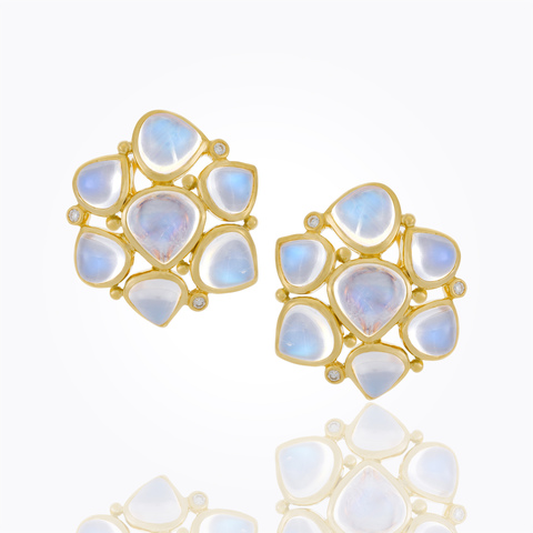 Temple St. Clair 18K Yellow Gold .09cts  Diamonds Gold Earrings with Stones E41427-SMCLUSBM