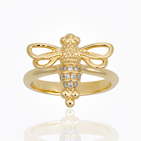 Temple St. Clair 18K Yellow Gold .10cts  Diamonds Gold Ring with Stones R31844-RESTBEE