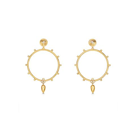 Temple St. Clair 18K Yellow Gold .16cts  Diamonds Gold Earrings with Stones E11845-ANFOGRHP