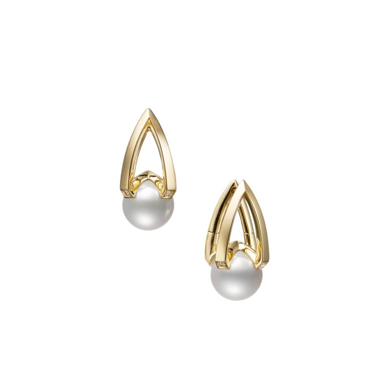 MIkimoto 18K Yellow Gold .05cts  Diamond Pearl Earrings MEA10323ADXK