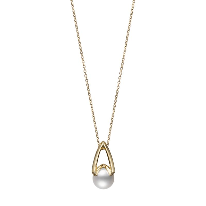 Mikimoto 18K Yellow Gold .02cts  Diamond Pearl Necklace MPA10380ADXK