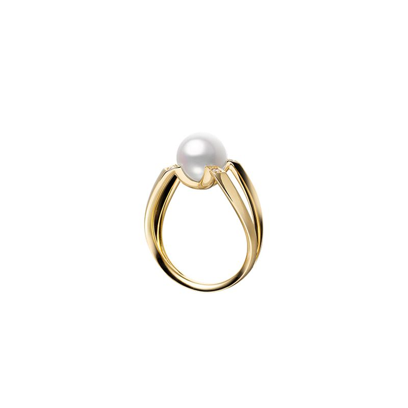 Mikimoto 18K Yellow Gold .04cts  Diamond Pearl Rings MRA10263ADXK