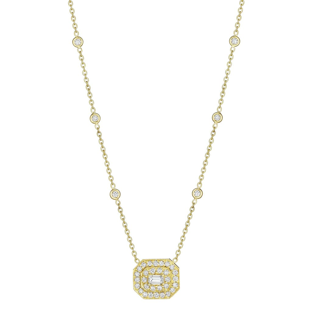 Penny Preville 18K Yellow Gold 1.51cts  Diamonds Gold Necklace with Stones N5031G