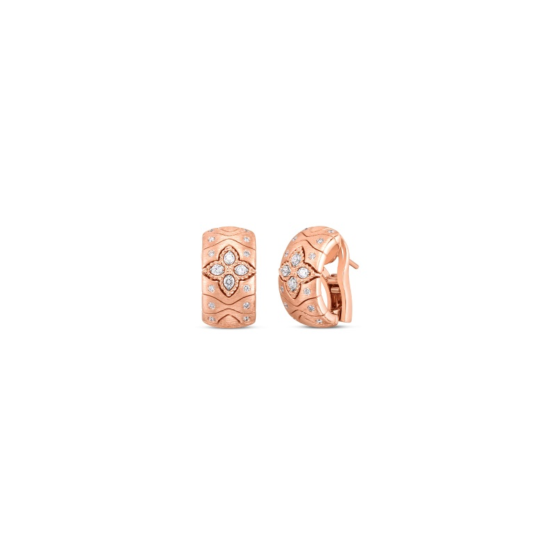 Roberto Coin 18K Rose Gold .44cts  Diamonds Gold Earrings with Stones 7772990AHERX