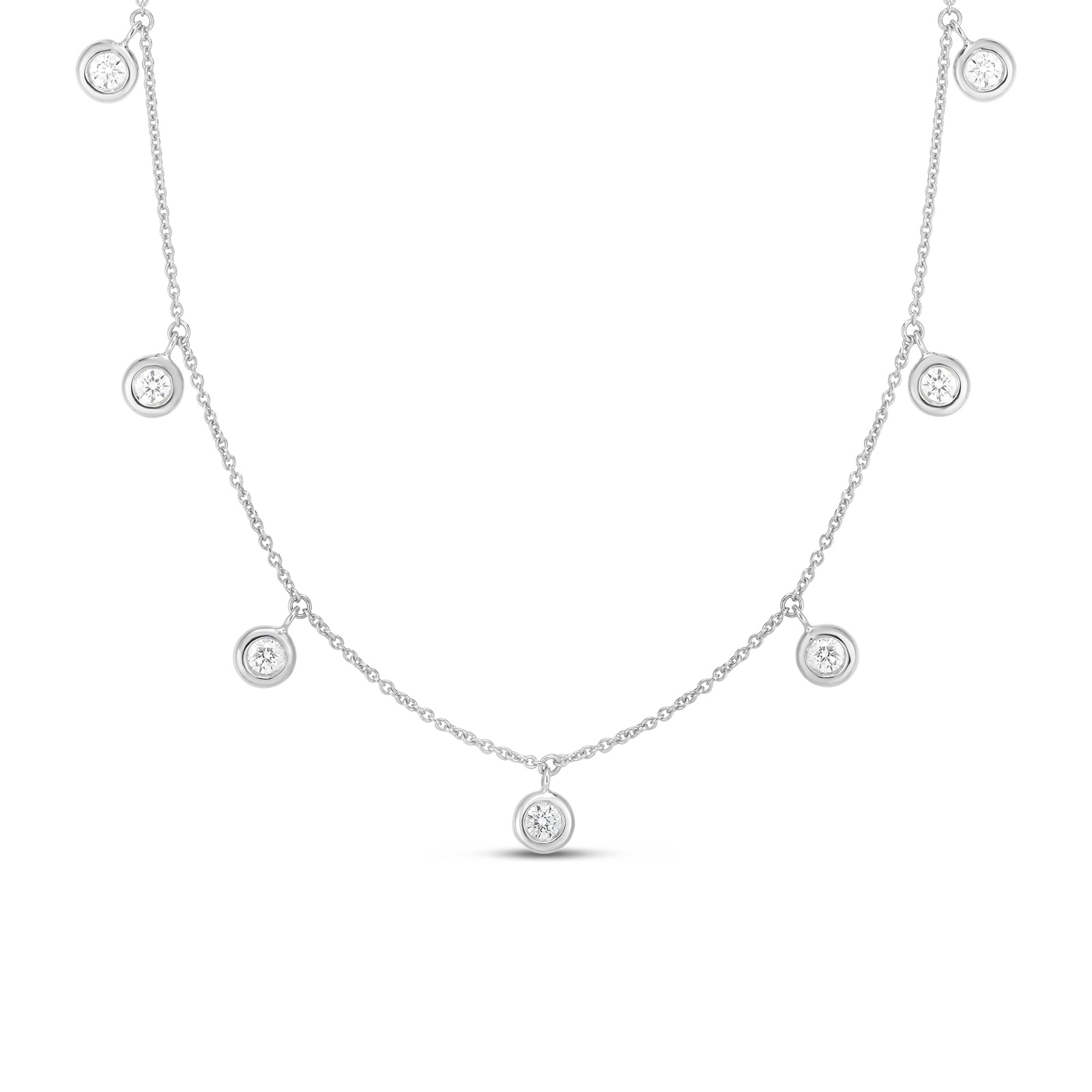Roberto Coin 18K White Gold .33cts  Diamond Gold Necklace with Stones 530011AWCHX0