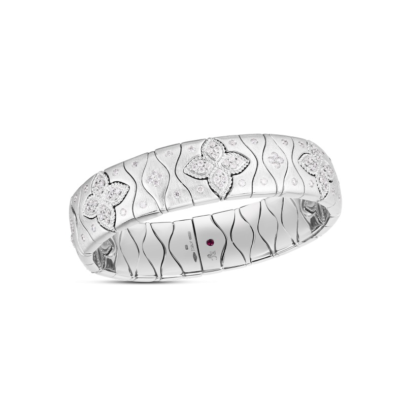 Roberto Coin 18K White Gold 2.05cts  Diamonds Gold Bangle with Stones 7773006AWBAX