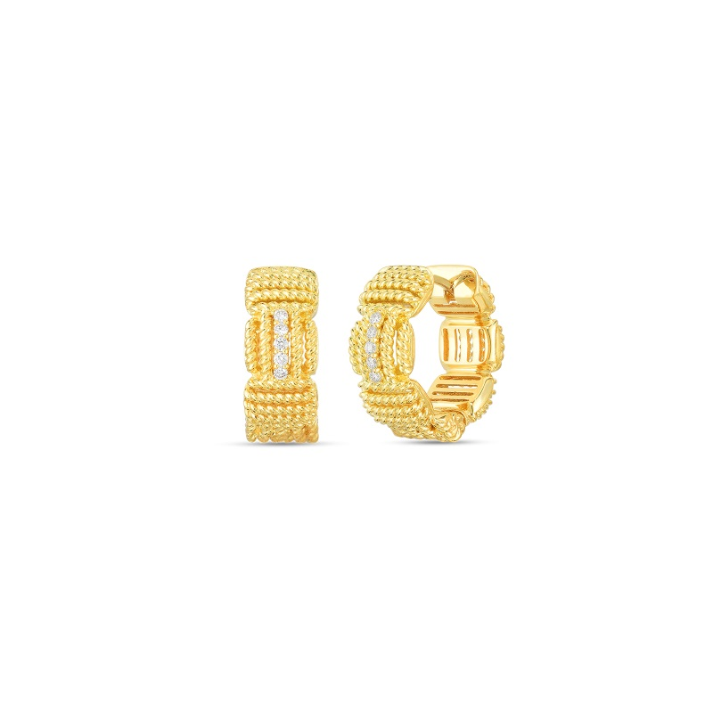 Roberto Coin 18K Yellow Gold .07cts  Diamonds Gold Earrings with Stones 7772894AYERX