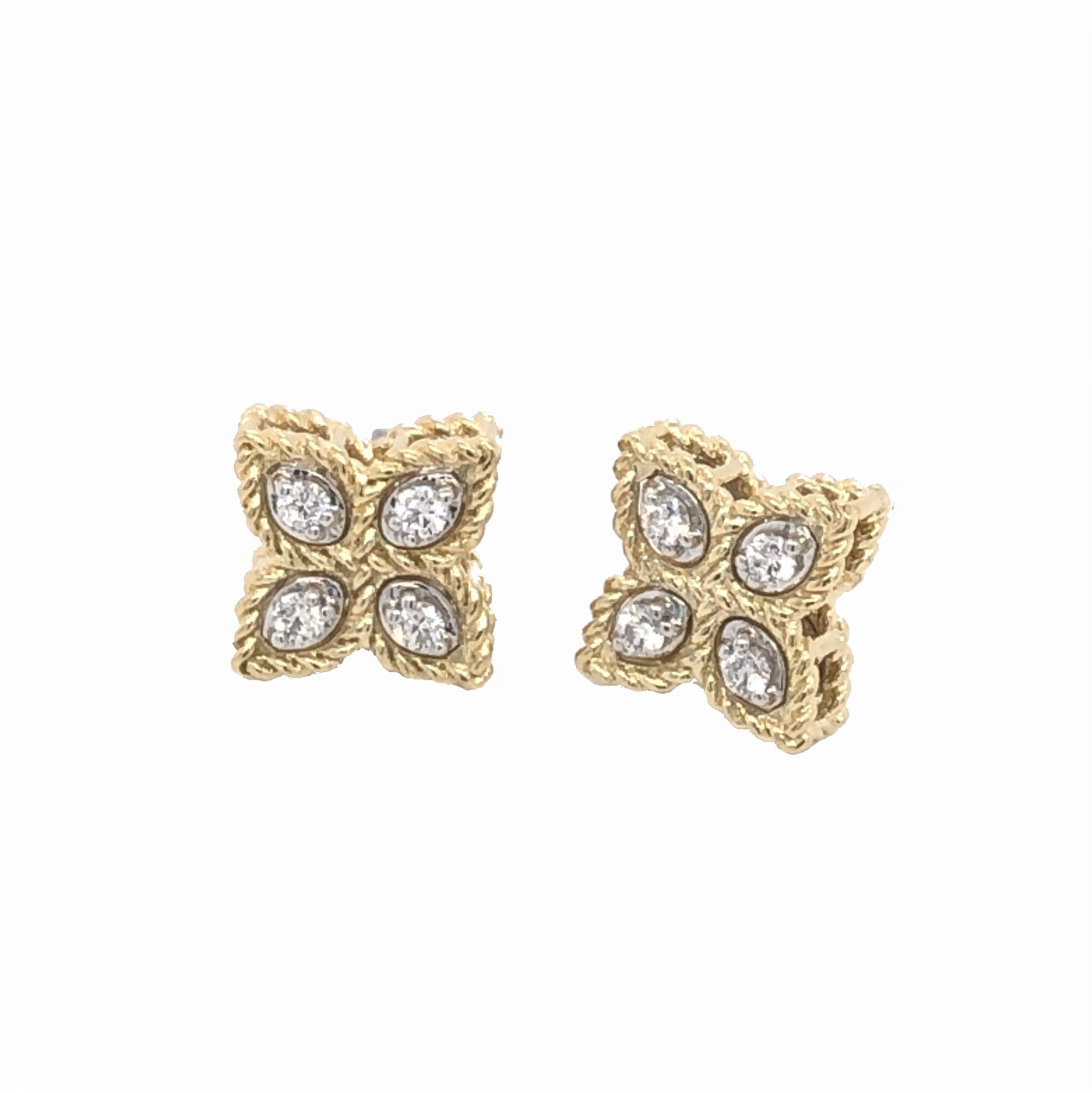 Roberto Coin 18K Yellow Gold .10cts  Diamond Gold Earrings with Stones 7771383AJERX