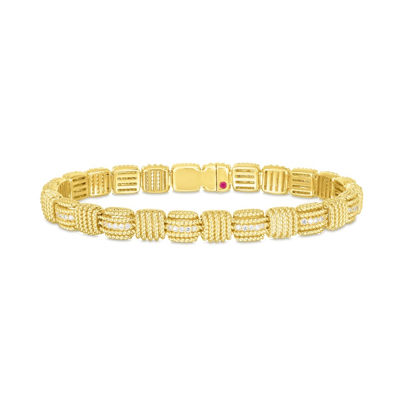 Roberto Coin 18K Yellow Gold .54cts  Diamonds Gold Bangle with Stones 7772894AYLBX