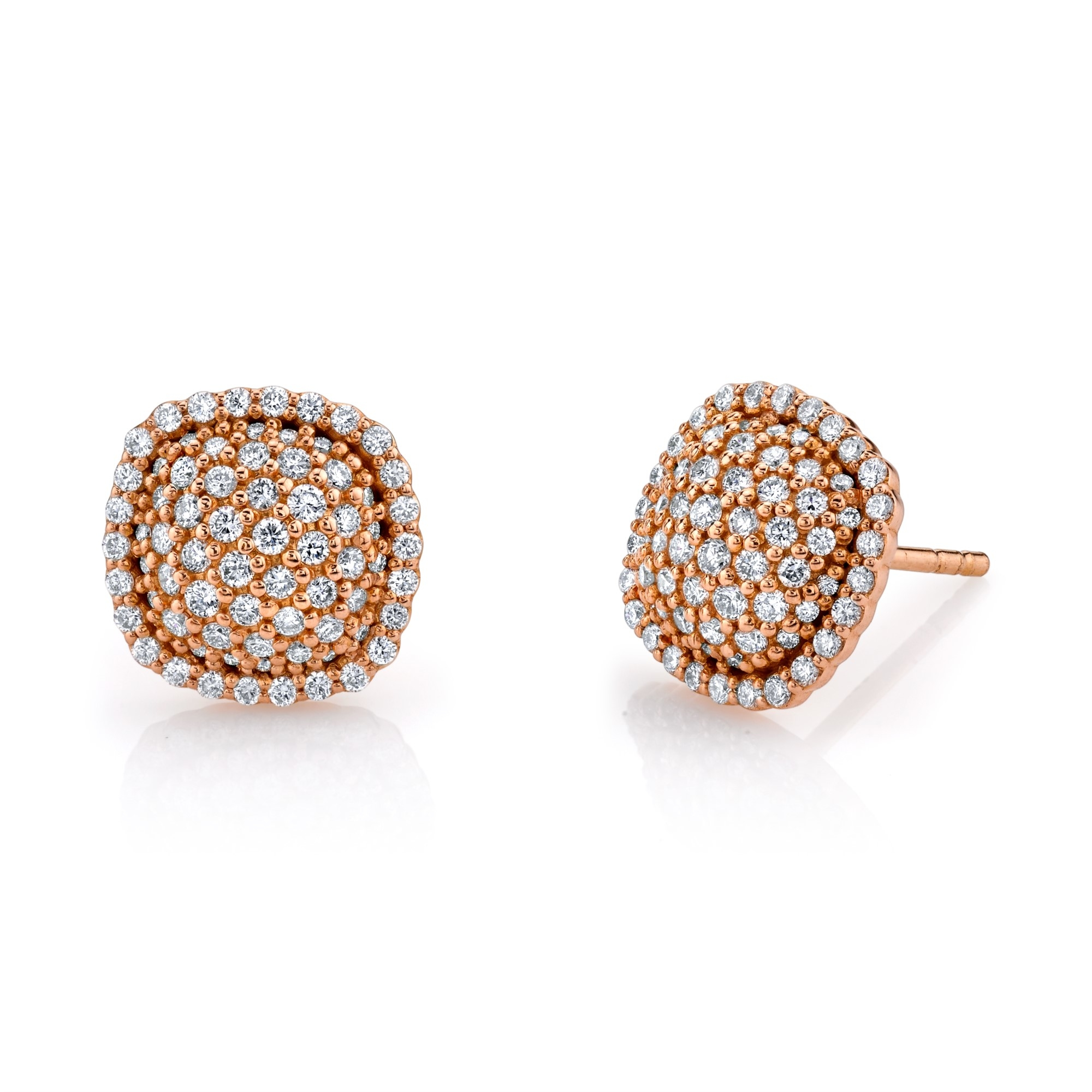 Sloane Street 18K Rose Gold .81cts  Diamonds Gold Earrings with Stones E009-WD-R